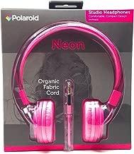 Polaroid Neon Pink Studio Headphones Comfortable Compact Design Php8400 Organic Fabric Cord Foldable Noise Isolation 3.5 Mm Jack (1 Set)