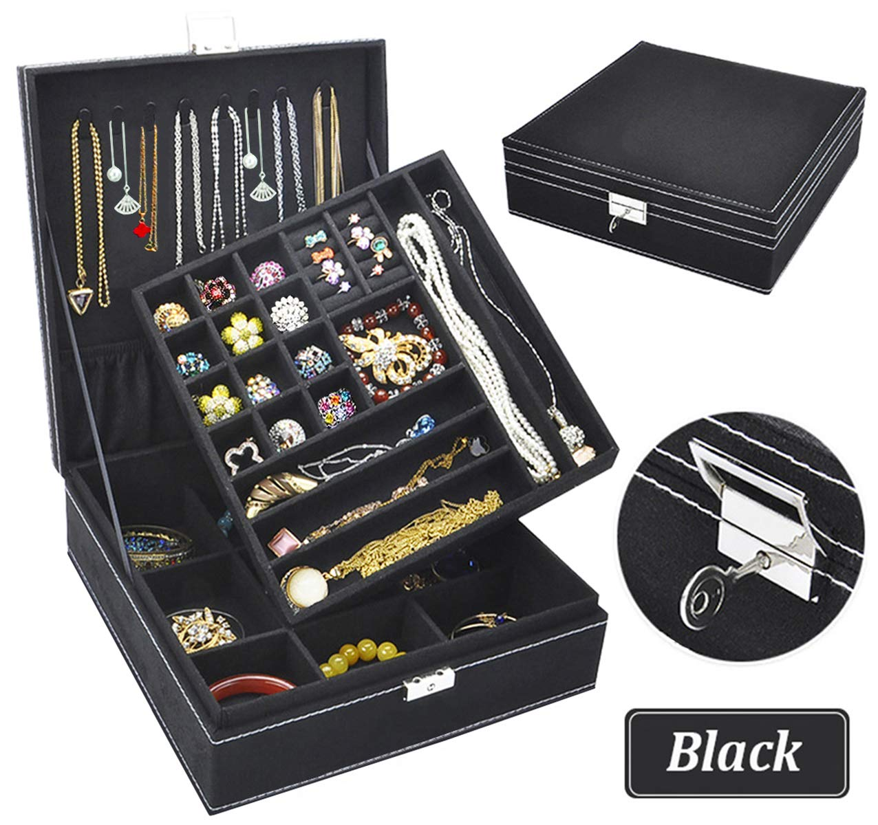 QBeelジュエリー収納バッグダブル36別リントジュエリーボックス付きロックイヤリングブレスレットネックレスリングウォッチ二重層 - ブラックBQ-ジュエリー - 親