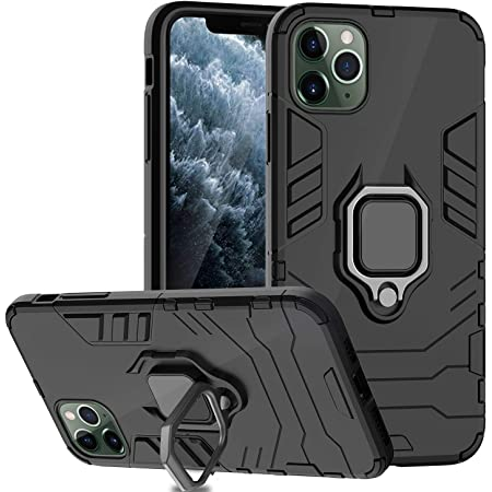 Ferilinso Case for iPhone 11 Pro Cases, Stylish Dual Layer Hard PC Back Case with Ring Grip Kickstand & Support Magnetic Car Mount Function Cover for iPhone 11 Pro Case (Black)