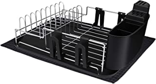 alvorog Dish Drying Rack Large Capacity Dish Holder Rack Microfiber Mat Included Fully Customizable Kitchen Organizer with Removable Drainboard/Cutlery Cup Holder (1-Tier)