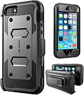 i-Blason Armorbox Case Designed for iPhone 5/5s/SE, [Built-in Screen Protector] [Full Body] [Heavy Duty Protection ] Holster Bumper Case for Apple iPhone SE/iPhone 5S/5 (Black)