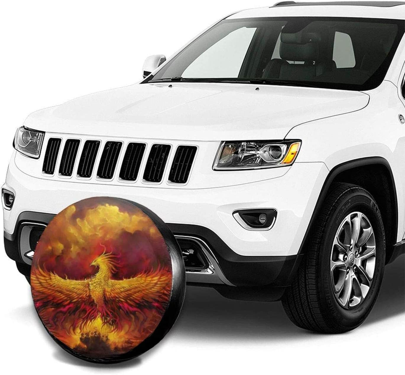 Barbershop B Fiery Phoenix Spare Tire Cover,Universal Fit for Camping Car Jeep Trailer RV SUV Truck and Many Vehicle,Weatherproof Sun Protection Tire Protectors