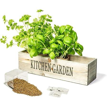Kitchen Herb Garden Kit Windowsill Window Box Planter With Seeds Amazon De Garden