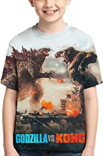 Unisex Godzilla vs Kong Children's 3D Printed Polyester T-Shirt, Youth Short Sleeve Tops Tee for Boys and Girls