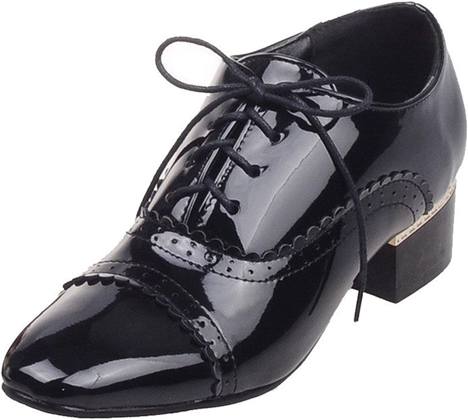 Tirahse Comfortable Women's Solid Patent Leather Low Heels Square Closed Toe Lace Up Pumps-shoes