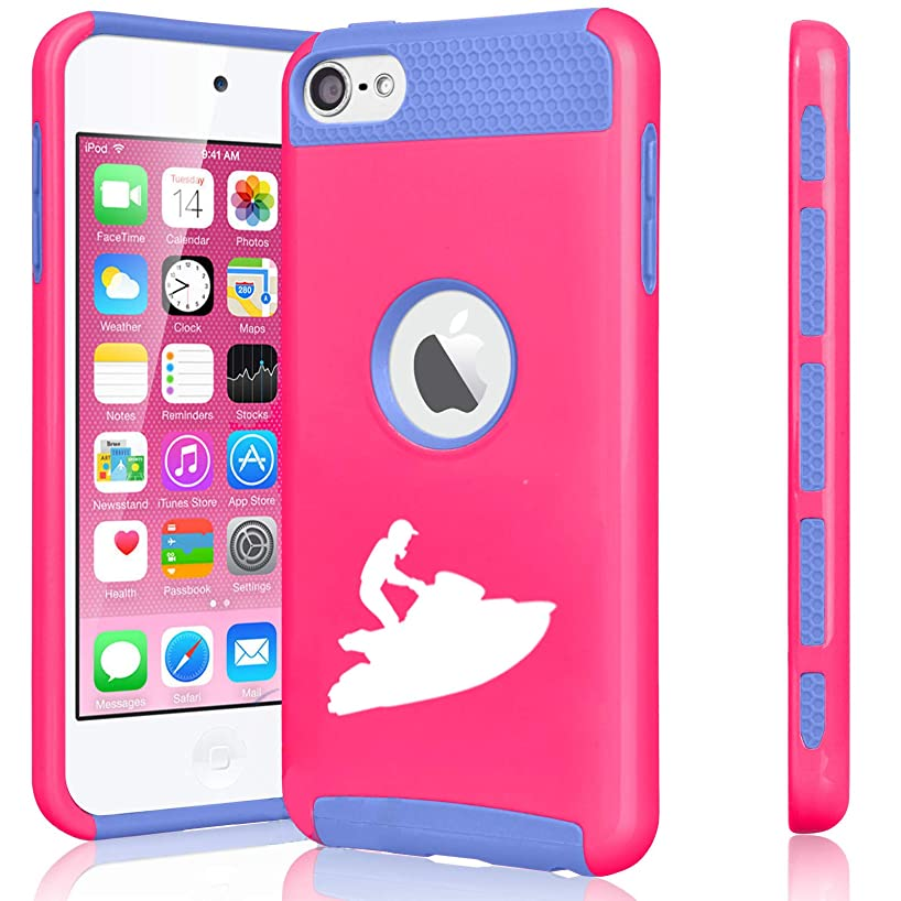 Shockproof Impact Hard Soft Case Cover for Apple (iPod Touch 5th / 6th) Jet Ski (Hot Pink-Blue)