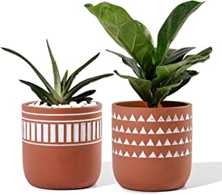 POTEY Indoor Plant Pots Cement - 4.13 Inch Medium Planter Flower Containers Clay Modern Decorative with Drain Hole - Set o...