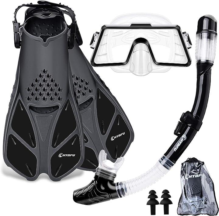 Maschera e pinne per adulti, maschera subacquea professionale panoramica a 180 gradi  chybfu CHYBFU0406