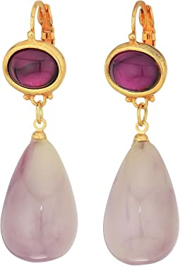 "1"" Amethyst Top Amethyst Drop Eurowire Earrings"