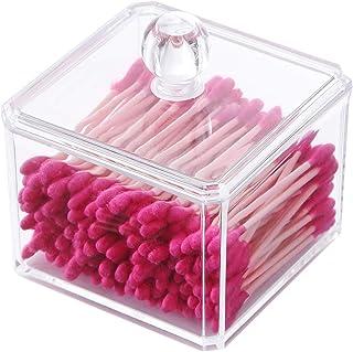 PuTwo Organizador de maquiagem para banheiro, armazenamento de botões de algodão, suporte para cotonetes de algodão com ta...