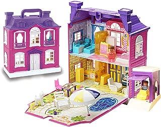 VindaTec Kids Pretend Play Dollhouse, Foldable Portable Playhouse Set with Music LED