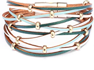 Tea language Multilayer Leather Bracelets for Women Femme Crystal Metal Beads Charm Bohemian Style Bracelet Female Jewelry