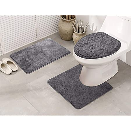 Amazon Com Elegant Home 3 Piece Bathroom Rug Set Bath Contour Mat Lid Cover Non Slip With Rubber Backing Solid Color Angela Charcoal Kitchen Dining