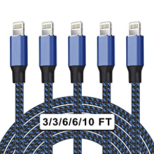 WACAUR [Apple MFi Certified] 5Pack(3/3/6/6/10ft)Nylon Braided iPhone Charger Lightning Cable Fast Charging&Syncing Long Cord Compatible iPhone 12/11Pro Max/11Pro/11/XS/Max/XR/X/8/8P/7 More-Black&Blue