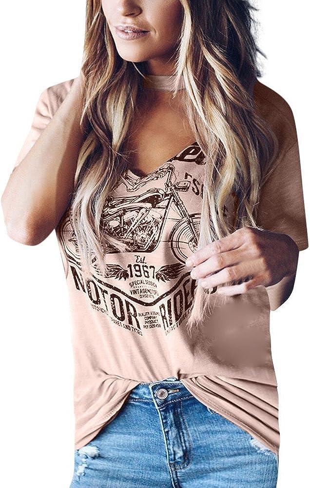 Women's Choker Cut Out V Neck Blouse Tee Short Sleeve Stylish Print Tops T-Shirts Tee Vest Tunic