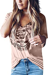 SADUORHAPPY Womens Tops Short Sleeve V Neck Choker T-Shirt Stylish Vintage Graphic Tee Shirt Blouse Top