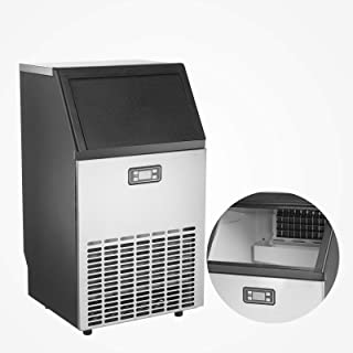 KUPPET Commercial Ice Maker, Under Counter/Freestanding Automatic Ice Machine for Restaurant Bar Cafe, 100lbs Ice per 24 hours-w/Scoop, Ice Basket, Timer & Auto Clean, Stainless Steel
