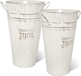 LESEN 12 Inch Vintage Metal Galvanized Flower Vase – Set of 2 – Farmhouse..