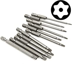 Yakamoz 11 Pcs Magnetic T6-T40 Torx Head Screw Driver Bit Set Security Tamper Proof Star 6 Point Screwdriver Drill Bits Tools with 1/4 Inch Hex Shank   3 Inch Length
