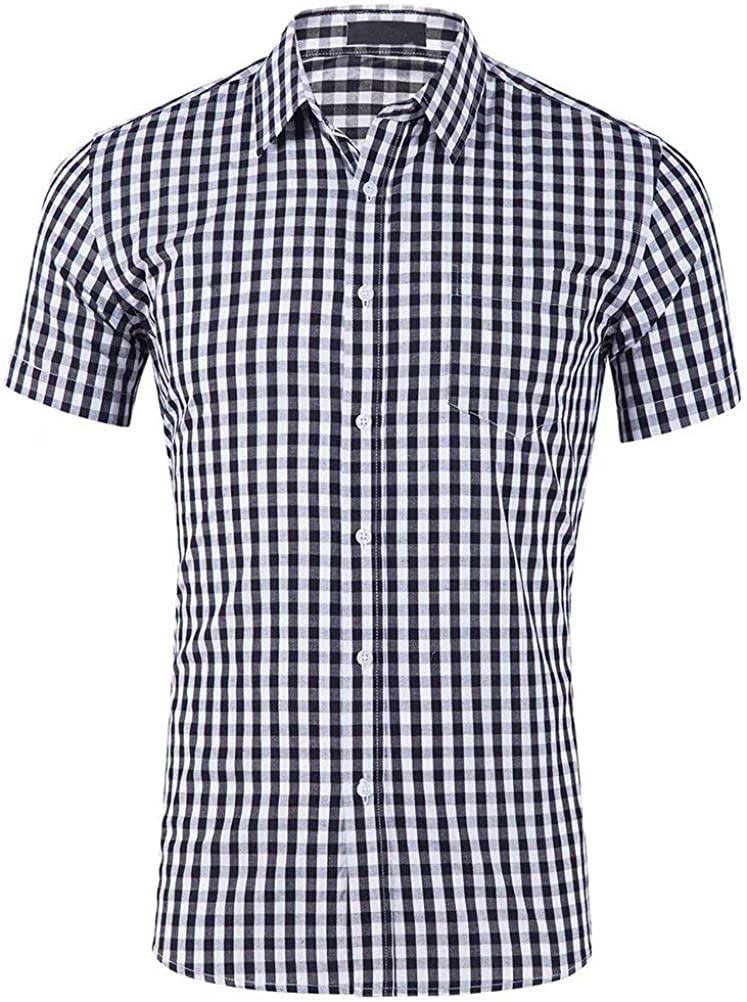 Wxian Men's Short Sleeve Small Plaid Casual Shirt with Pocket