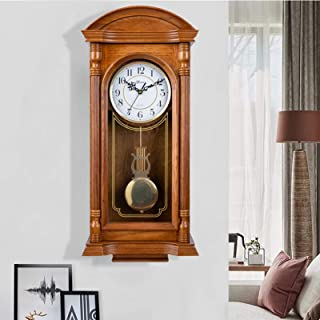 qwertyuio Wall Clocks for Living Room Pendulum Wall Clock Grandfather Wall Clock, With Westminster Battery Operated School...