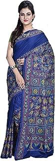 SareesofBengal Women's Handloom Kantha Stitch Pure Silk Saree (K070,Bottle Green,Black,Multicolour,Free Size)