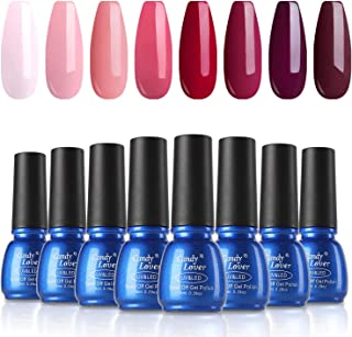 Candy Lover Popular Gel Nail Polish, Maturation Red Collection UV LED 8 Colors Selected Set - Soak Off Nail Gel Home Manicure Starter Kit