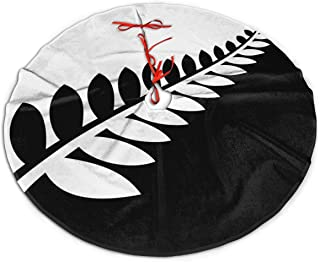 JJCSTE.C Holiday Decoration Christmas Tree Skirt NZ Flag Silver Fern Black & White Cute Xmas Tree Decoration Skirt for Christmas Decorations Indoor Outdoor