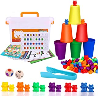 STEM Toys,Rainbow Counting Bears with Matching Sorting Cups,Number Color Recognition STEM Educational Toy for Toddler, Pr...