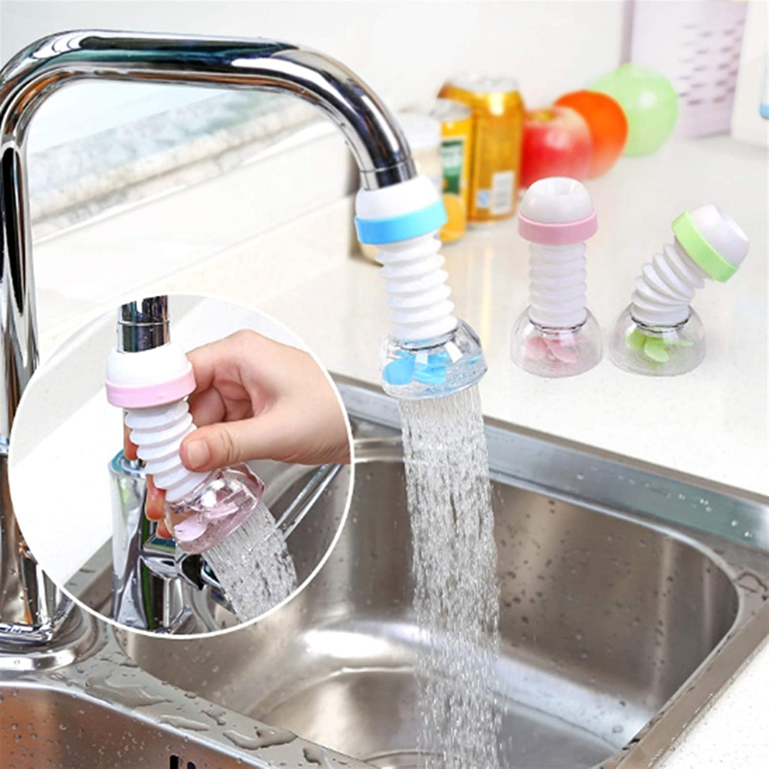 Color : Blue ZHENGYAQI-PHONE CASE Rotatable Adjustable Kitchen Faucet Extender Water Saving Tap Nozzle Faucet Connector 360 Degree Adjustable Shower Accessories