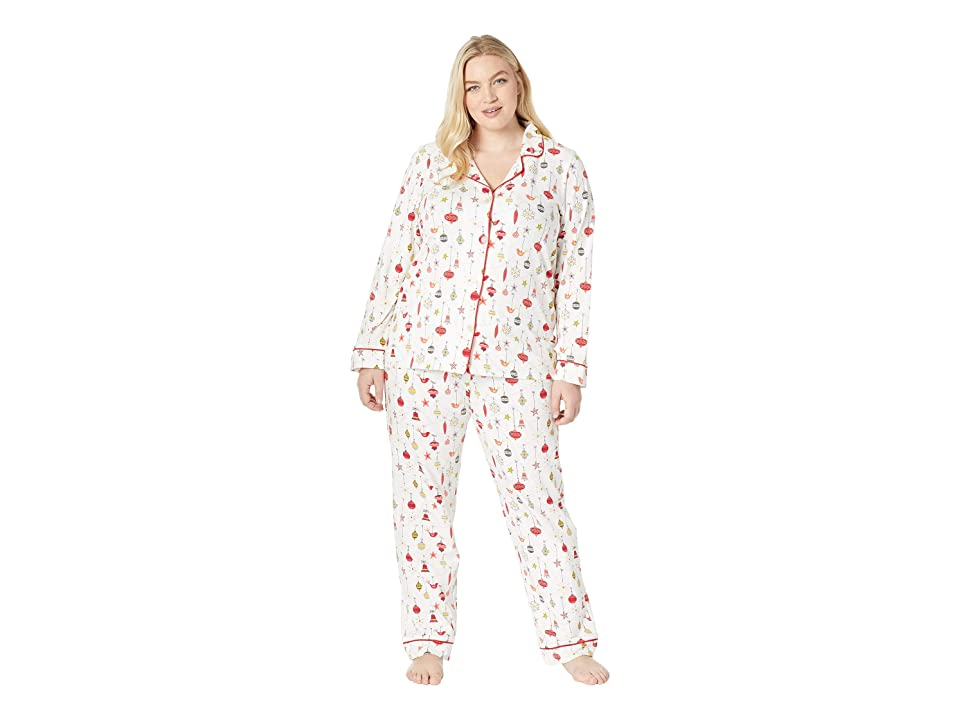 BedHead Plus Size Long Sleeve Classic Notch Collar Pajama Set (Deck The Halls) Women