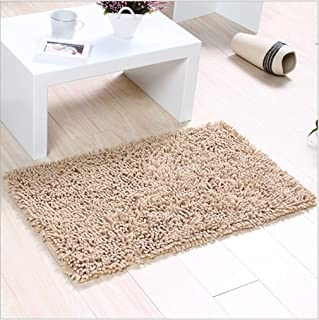 FINECASA Soft Luxury Chenille Bath Rug Extra Absorbent and Comfortable Bathroom Mat Rugs Strong Underside Anti-Slip Plush Carpet Mats for Children's Tub 36''x24''Light tan