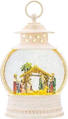 LED Nativity Lantern  Rustic White 11 x 7 Acrylic Holiday Snow Globe Swirl Dome