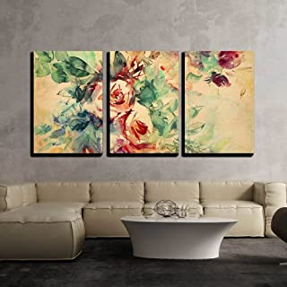 wall26 - 3 Piece Canvas Wall Art - Watercolor Roses Painted on Beige Tone Paper - Modern Home Decor Stretched and Framed Ready to Hang - 16