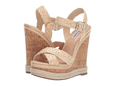 Steve Madden Maven Wedge Sandal (Natural Raffia) Women