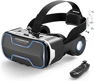 Dasimon【VRゴーグル】 VRヘッドセット VRグラス 3D スマホVR 高音質ヘッドホン付 VRメガネ120°視野角 VRヘッドマウントディスプレイ 4.7~6.5インチスマホ対応 本体操作可 Bluetoothコントローラー付 ワンク...