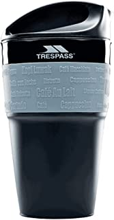 Trespass Coffee Pop Foldable Collapsable Silicone Hot Drinks Travel Office Work BPA Free Cup Mug, Black, 355 ml