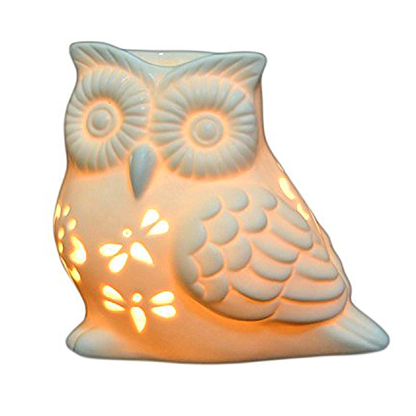 Ivenf Owl Shape Ceramic Tea Light Holder/Wax Melt Warmer, Aromatherapy Essential Oil Burner, Great Decoration for Living Room, Balcony, Patio, Porch & Garden