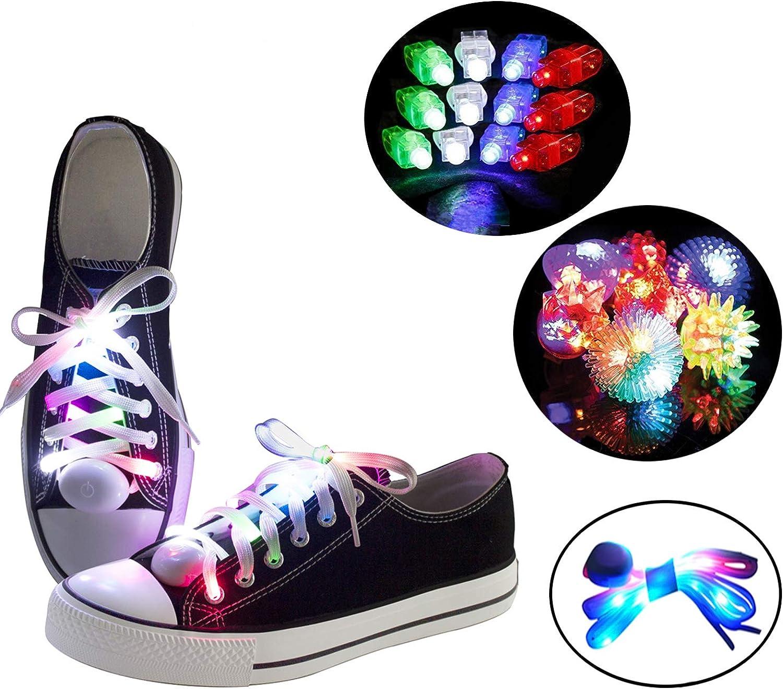 LKDEPO Led Light Up shoeslaces with 3 Flashing Modes Lighting the Night [Added 5 LED Flashing Rings, 12 LED Finger Lights]