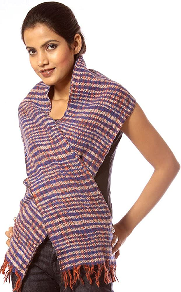 Exotic India Blue Pure Wool Matted Knitted Scarf