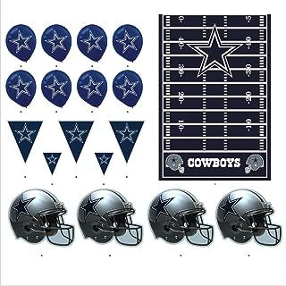 Dallas Cowboys Football Decorations: Wall Helmet Cutouts, Balloons, Pennant Banner & Table Cover