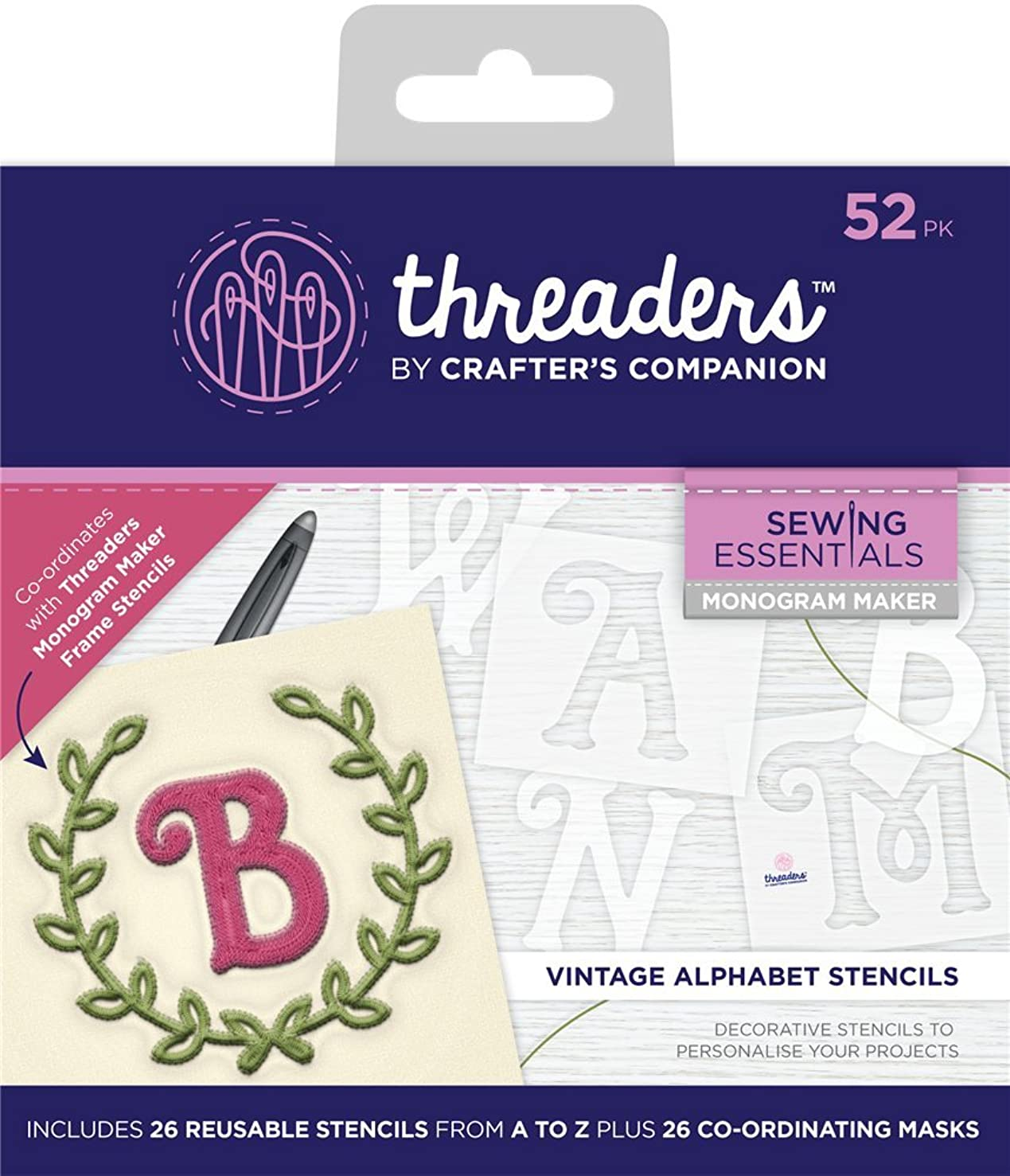 Threaders Vintage Alphabet Templates Monogram Maker, 16 x 14 x 1.3 cm
