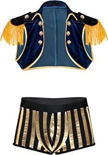 Zaldita Men's Nightclub Pirate Cosplay Costume Victorian Steampunk Tassel Vest Top with Shorts