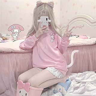 Kuromi Anime Sudadera con capucha para mujer de invierno a la moda con capucha linda manga larga Tops sueltos impresión ro...