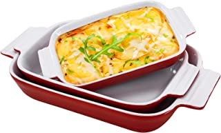 Hompiks Baking Dish Casserole Dishes Porcelain Bakeware Sets for the Oven 11.02 x 8.35 Inch Baking Dish Set of 3 for Kitch...