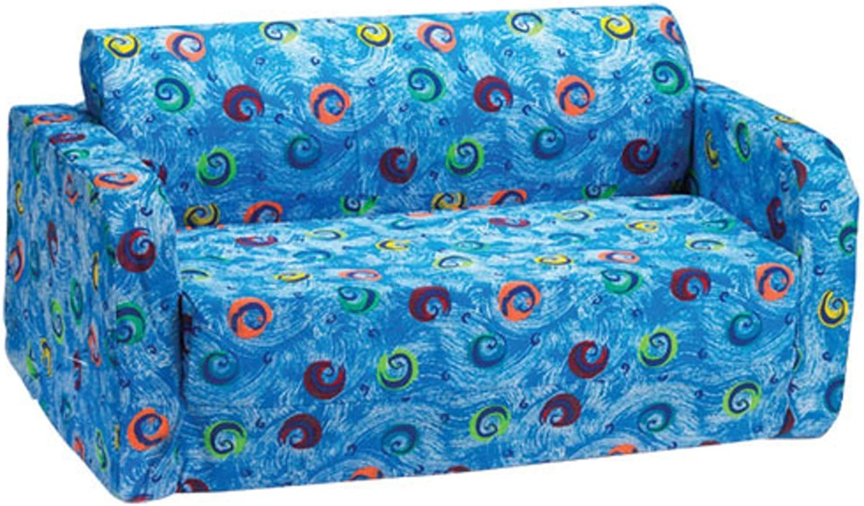 Comfy Kids - Polyester Kids Flip Sofa (bluee Swirls)