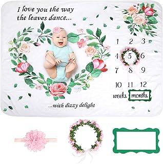 Baby Monthly Milestone Blanket | Premium Floral Wreath, Cute Month Marker & Pink Headband | Extra Soft Fleece Baby Photo B...