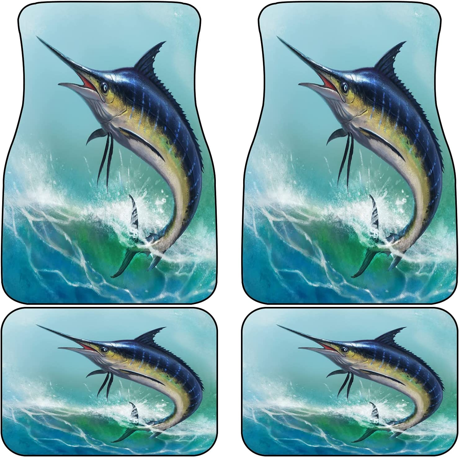 VINISATH Front Rear Car Fees free Mats Set of In stock 4 in Blue Fish Marlin The