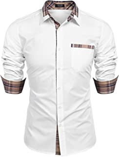 Men's Casual Cotton Long Sleeve Dress Shirt Plaid Collar Slim Fit Button Down Shirt