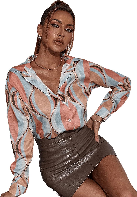 1970s Shirts, Tops, Blouses, T-Shirt Styles   History SweatyRocks Womens Chiffon Sexy Leopard V Neck Long Sleeve Blouse Shirt Tops  AT vintagedancer.com
